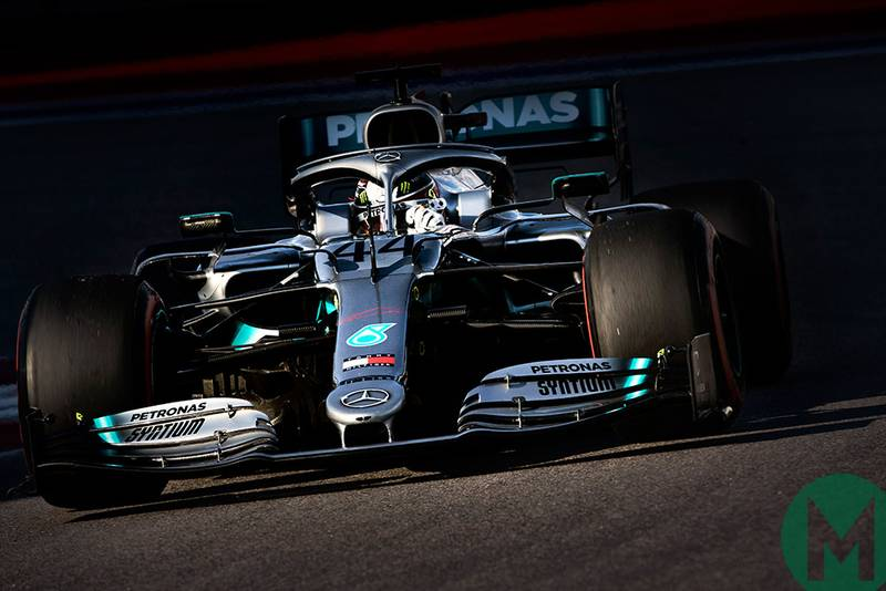 Lewis Hamilton during qualifying for the 2019 Russian Grand Prix