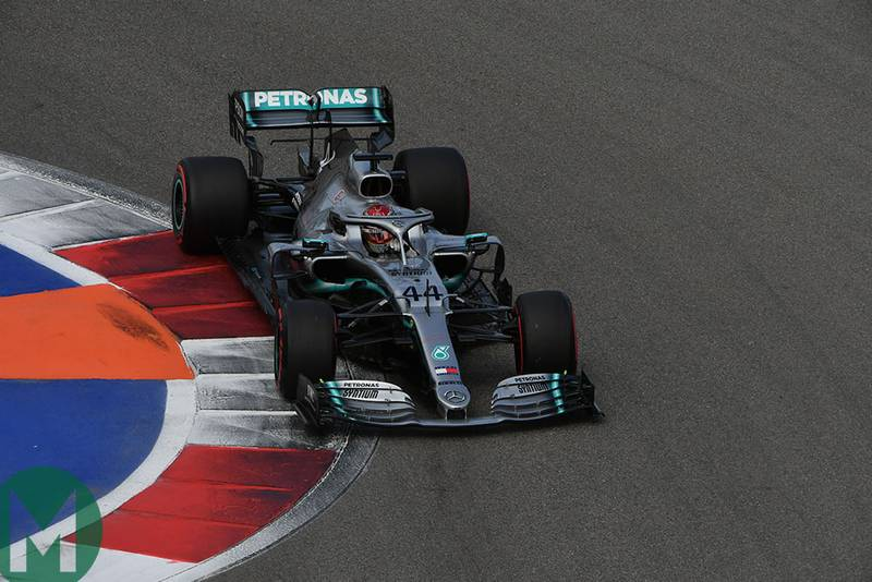 Lewis Hamilton in one of the final corners of the Sochi Autodrom during qualifying for the 2019 F1 Russian Grand Prix