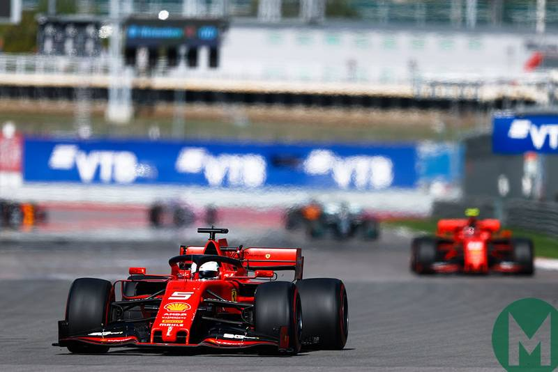 Sebastian Vettel leads Charles Leclerc by an obvious margin in the early laps of the 2019 F1 Russian Grand Prix