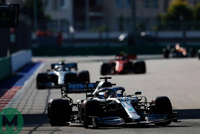 Lewis Hamilton leads Valtteri Bottas and Charles Leclerc at the 2019 F1 Russian Grand Prix