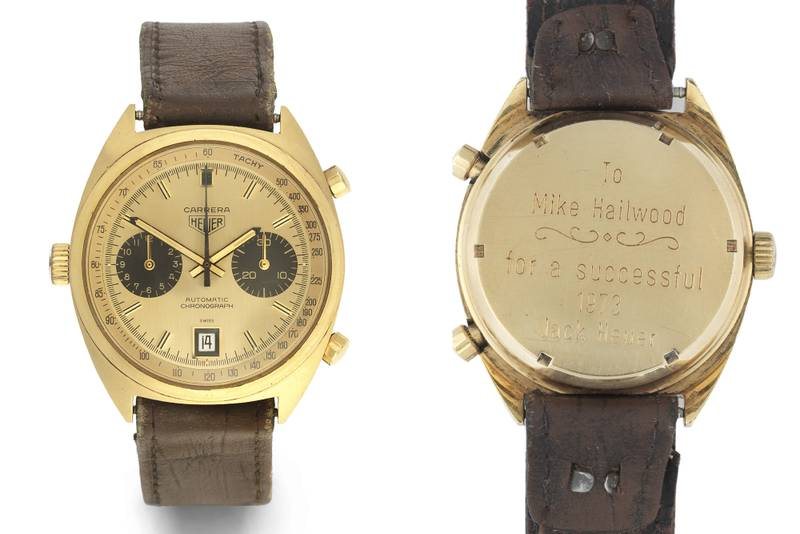Mike Hailwood's Heuer 'Carrera' 1158 watch, which is being auctioned on October 18 2019