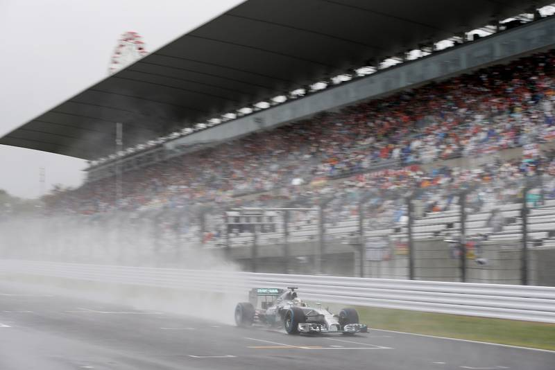 Lewis Hamilton leads during the 2014 Japanese Grand Prix