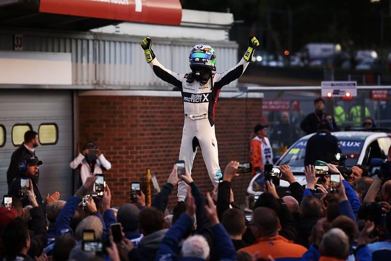 Colin Turkington celebrates his BTCC title win at Brands Hatch