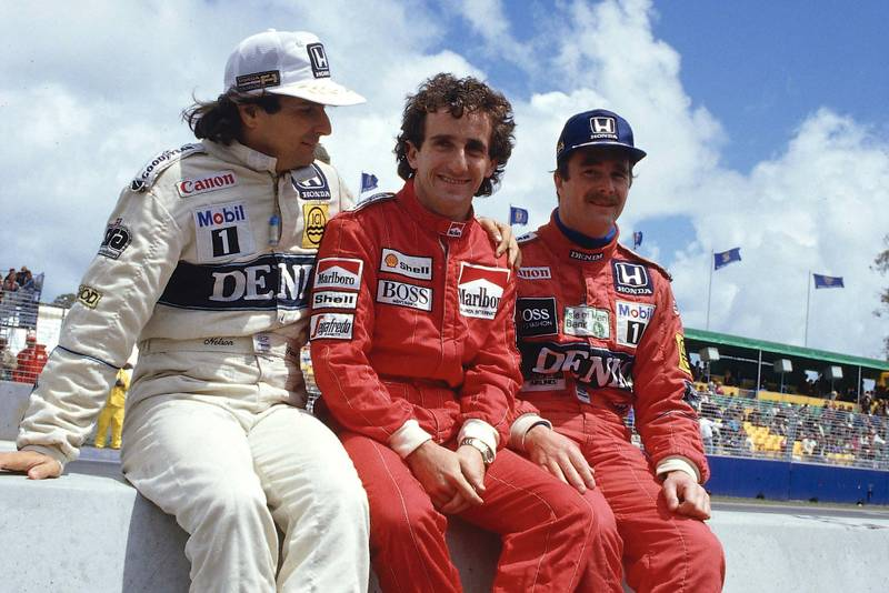 1986 title contenders Nelson Piquet, Alain Prost and Nigel Mansell