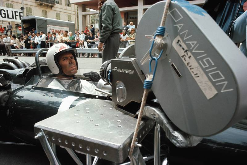 James Garner in an F1 car with a camera attached at the 1966 Monaco Grand Prix