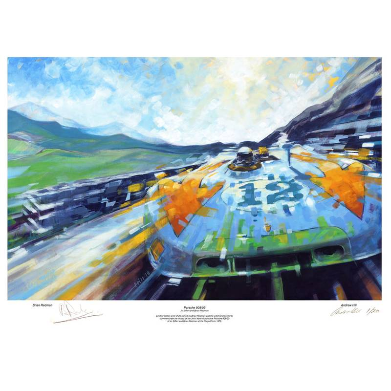 Product image for Porsche 908/03 - Targa Florio - 1970 | Andrew Hill | signed Brian Redman | Limited Edition print