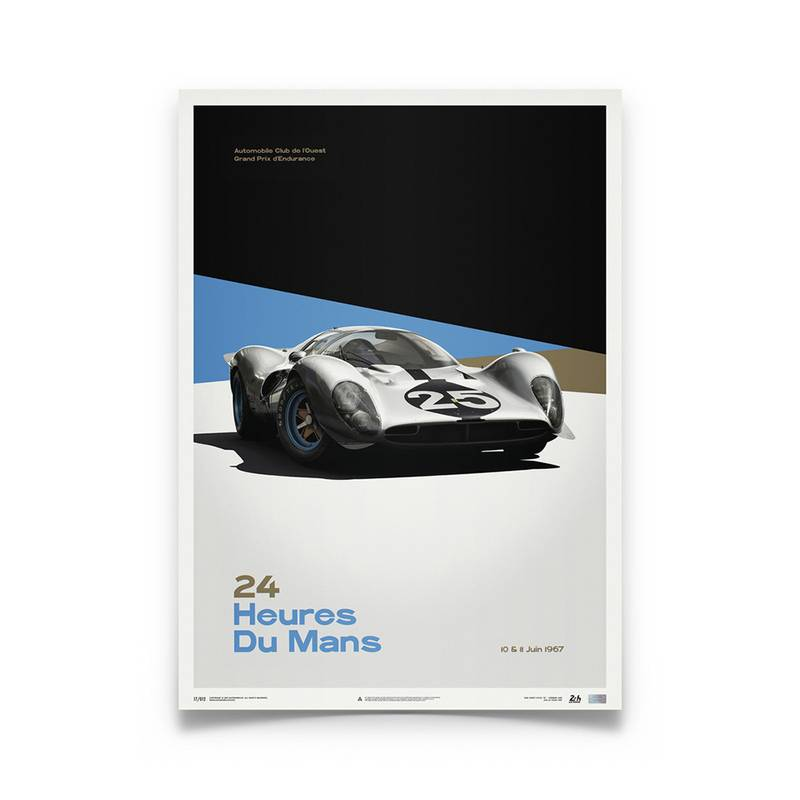 Product image for Ferrari 412P - White - Le Mans 1967 | Automobilist | Limited Edition poster