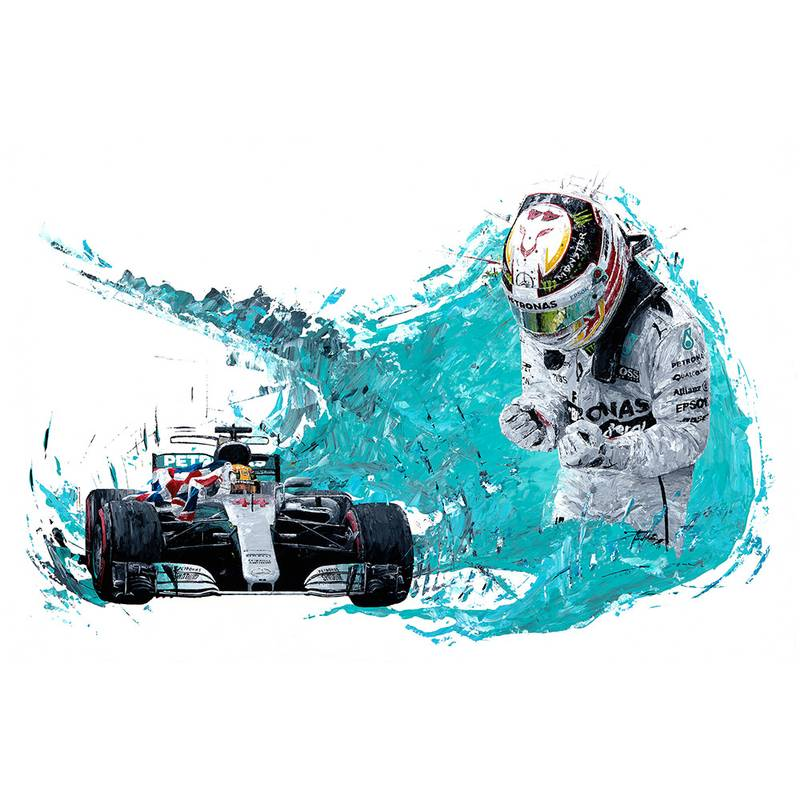 Product image for Lewis Hamilton - Mercedes – 2017 | David Johnson | Limited Edition print