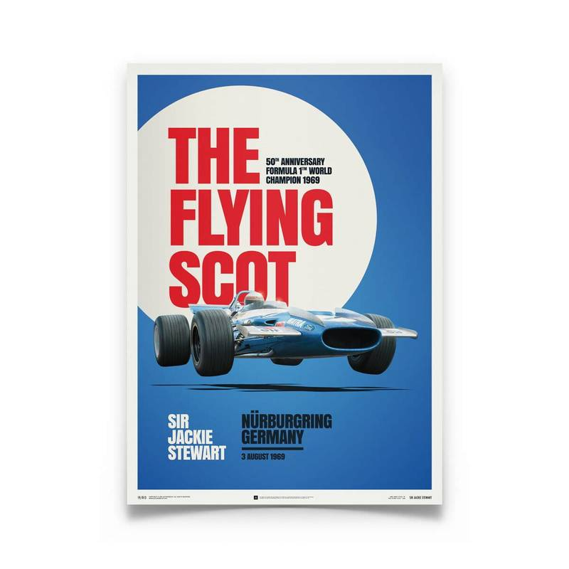 Product image for Matra MS80 Sir Jackie Stewart The Flying Scot 1969 Poster