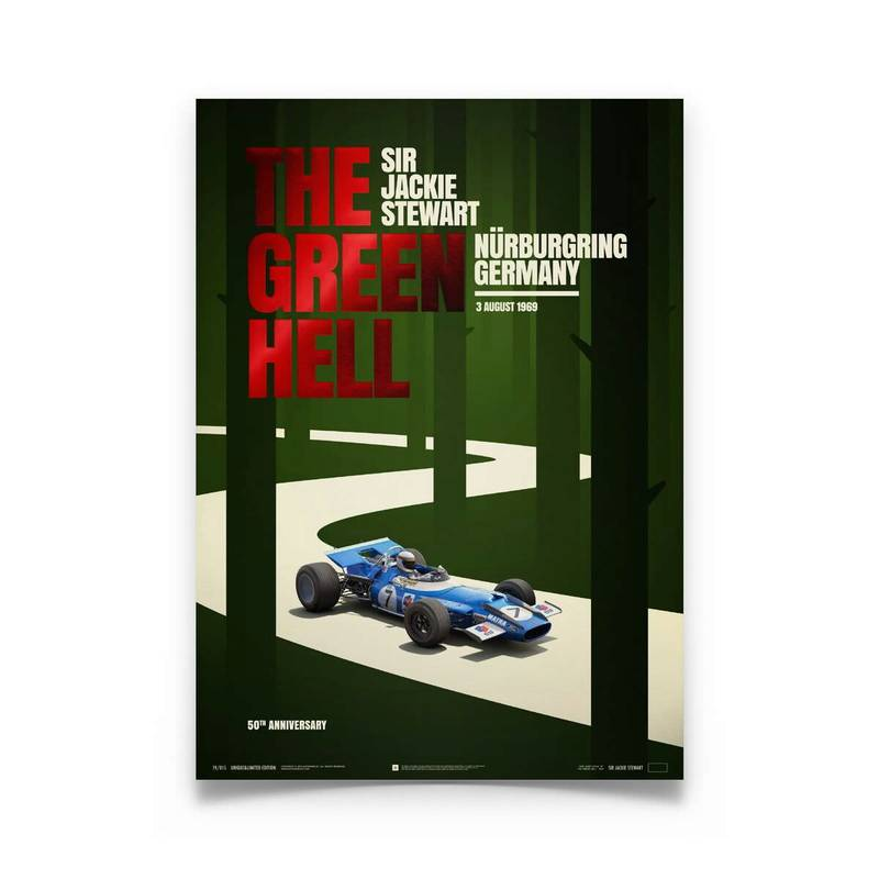 Product image for Matra MS80 Sir Jackie Stewart The Green Hell 1969 Poster
