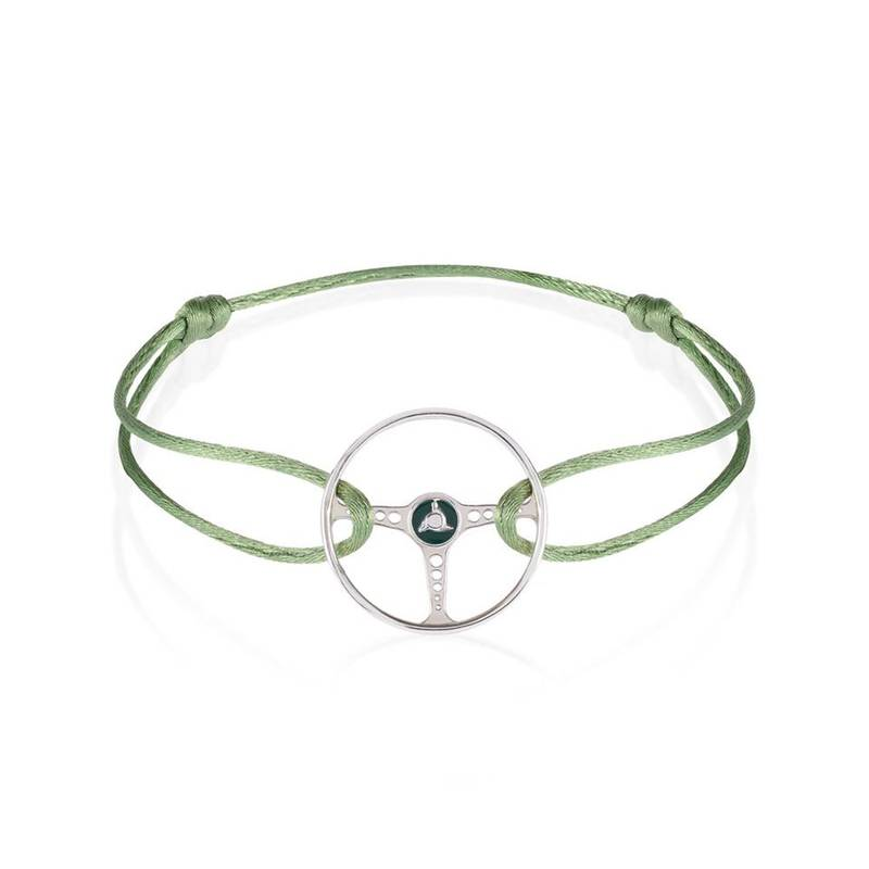 Product image for Racing Green on Almond Green Cord Bracelet