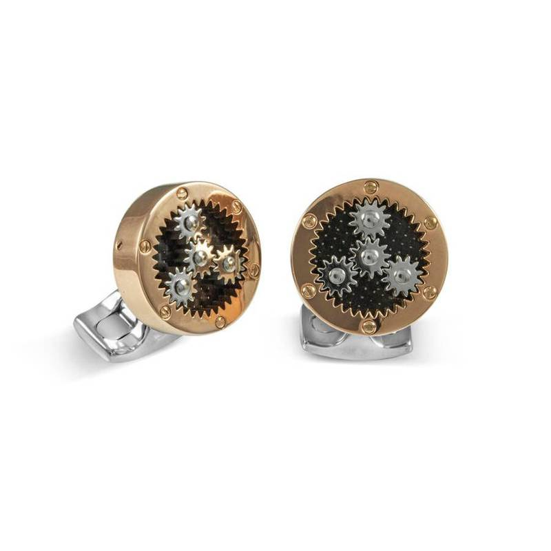 Product image for Mechanical Gear | Rose Gold | Cufflinks