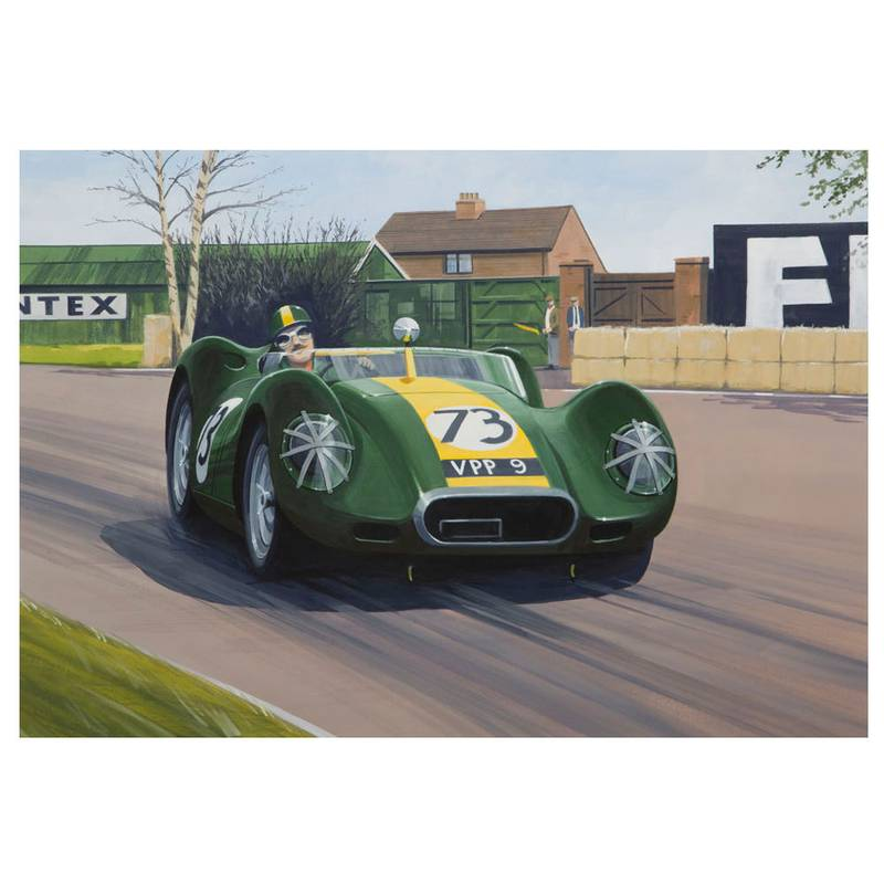 Product image for Lister Jaguar - Archie Scott-Brown - 1958 | signed by artist | Limited Edition print