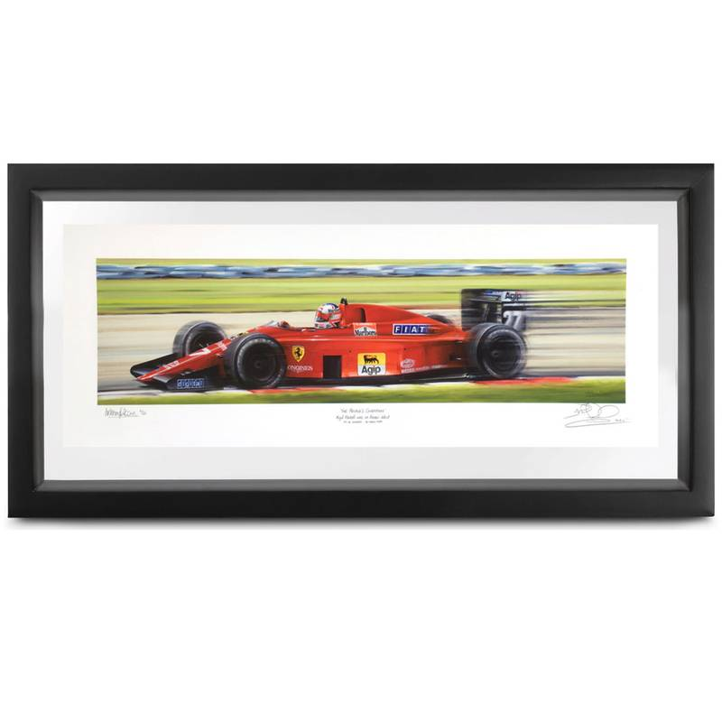 Product image for People's Champion | Nigel Mansell - Ferrari 640 - 1989 | signed Nigel Mansell | print