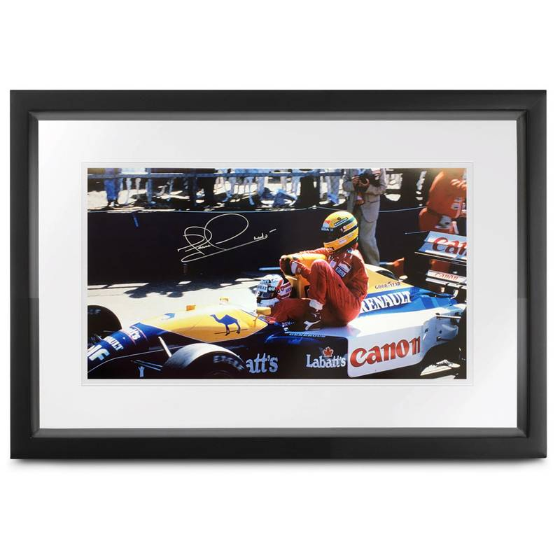 Product image for Taxi for Senna | Nigel Mansell – Williams FW14 – 1991 | signed Nigel Mansell | print