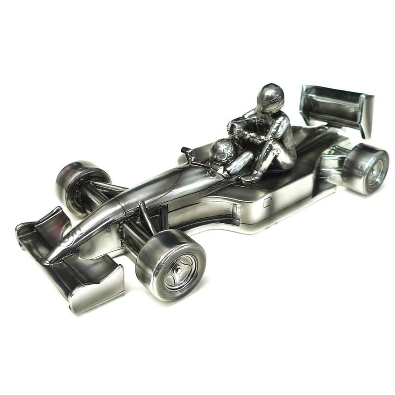 Product image for 1991 British Grand Prix 'taxi for Senna' chrome sculpture: Signed Nigel Mansell