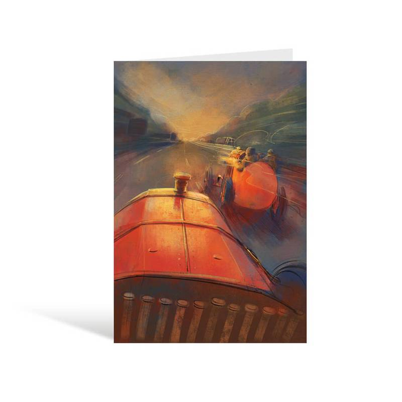 Product image for The Beast of Turin Goes to Goodwood A5 Greeting Card