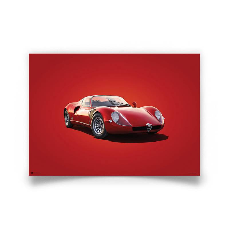 Product image for Alfa Romeo 33 Stradale – Red – 1967 | Automobilist | poster