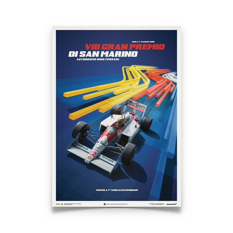 Product image for Ayrton Senna  –  McLaren MP4/4 – Blue – 1988 San Marino GP | Automobilist | Limited Edition poster