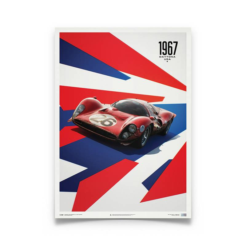 Product image for Ferrari 412P - Red - Daytona 1967 | Automobilist | Limited Edition poster