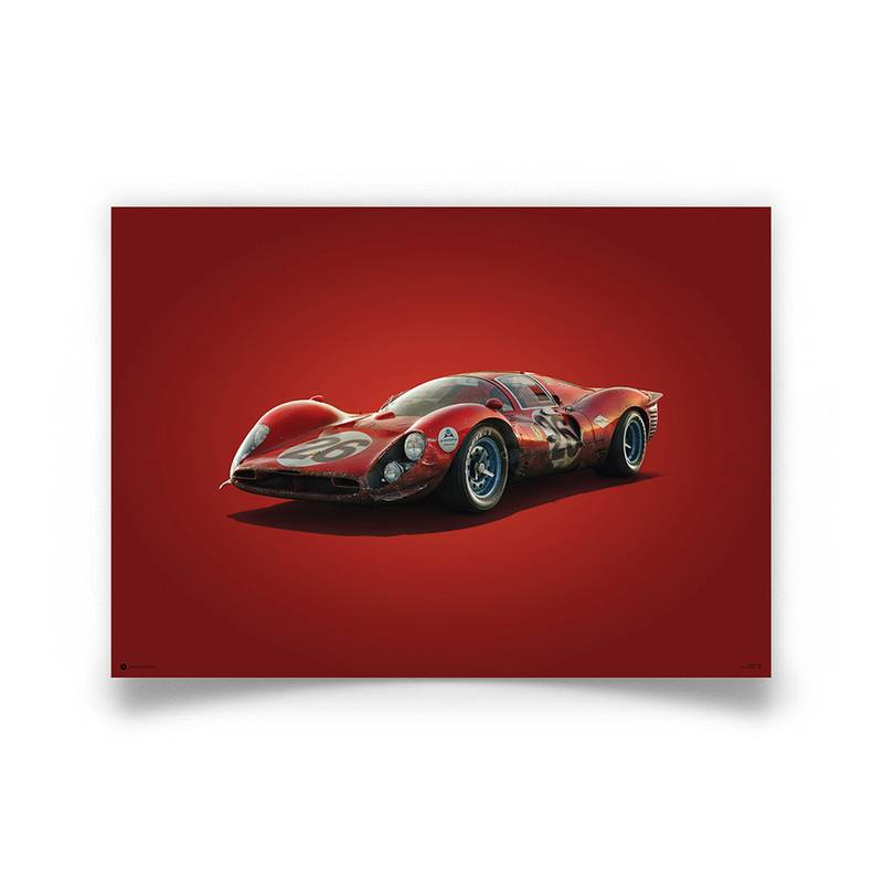 Product image for Colours of Speed | Ferrari 412P – Red – Daytona 1967 | Automobilist | Limited Edition poster