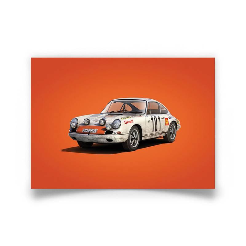 Product image for Colours of Speed | Porsche 911 RS – White – 1969 Tour de France | Automobilist | Limited Edition poster