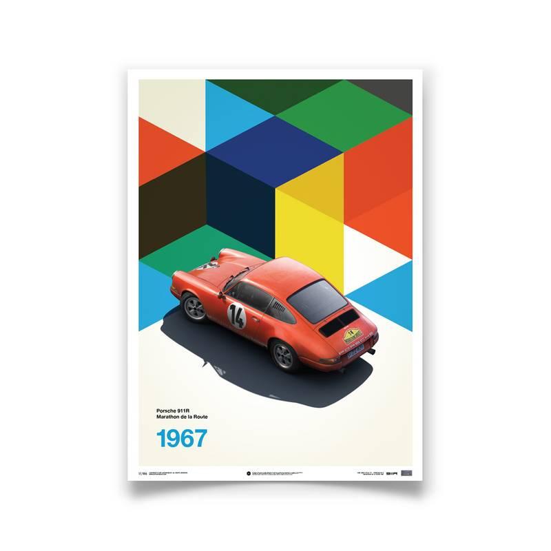 Product image for Porsche 911 R – Red – 1967 Marathon de la Route | Automobilist | Limited Edition poster