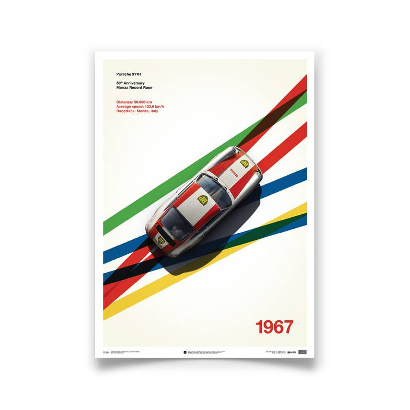 Product image for Porsche 911R – BP Racing – 1967 Monza | Automobilist | Limited Edition poster