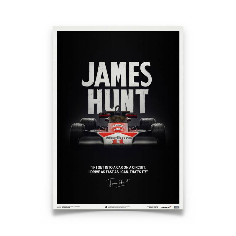 Product image for Quote | James Hunt – McLaren M23 – Japanese GP 1976 | Automobilist | Limited Edition poster