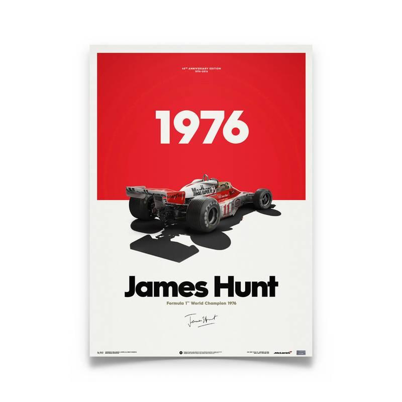 Product image for James Hunt - McLaren M23 - 1976   Automobilist   Limited Edition poster
