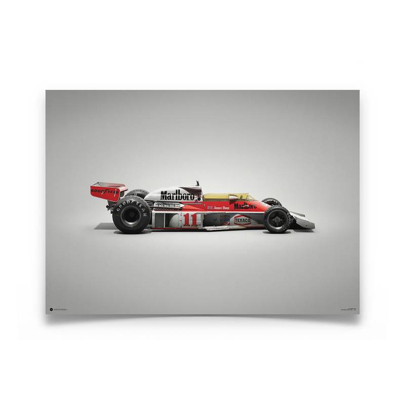 Product image for Colours of Speed   James Hunt – McLaren M23 – 1976   Automobilist   Limited Edition poster