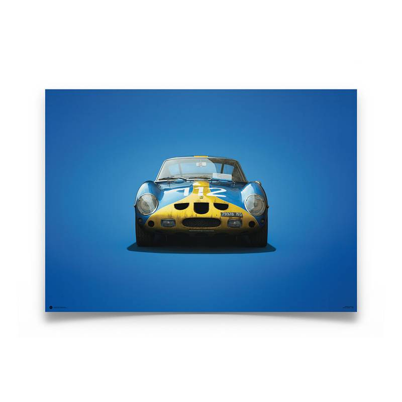 Product image for Colours of Speed   Ferrari 250 GTO – Blue & Yellow – 1964 Targa Florio   Automobilist   Limited Edition poster