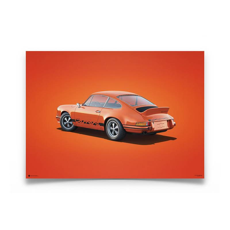 Product image for Colours of Speed | Porsche 911 RS – Tangerine – 1973 | Automobilist | Limited Edition poster