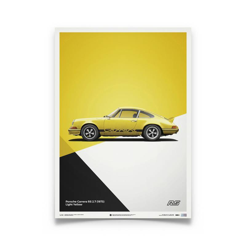 Product image for Porsche 911 RS – Yellow - 1973   Automobilist   Limited Edition poster