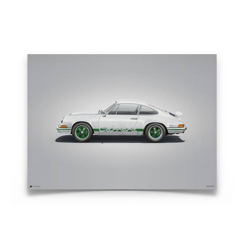 Product image for Colours of Speed   Porsche 911 RS – White - 1973   Automobilist   Limited Edition poster