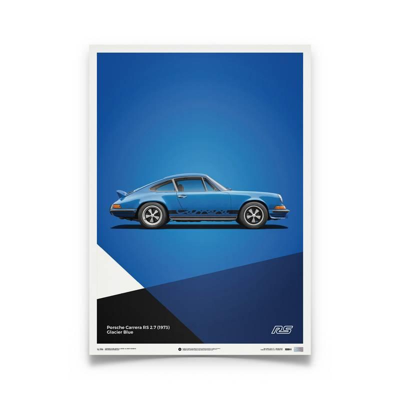 Product image for Porsche 911 RS – Blue – 1973   Automobilist   Limited Edition poster