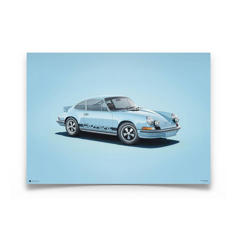 Product image for Colours of Speed   Porsche 911 RS – Blue - 1973   Automobilist   Limited Edition poster