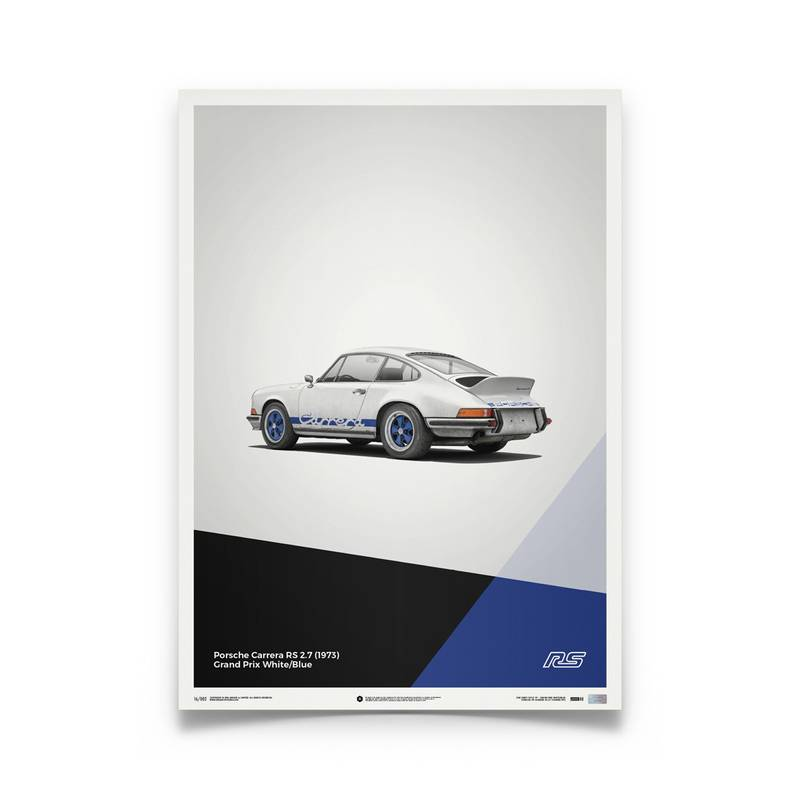 Product image for Porsche 911 RS – White - 1973   Automobilist   Limited Edition poster