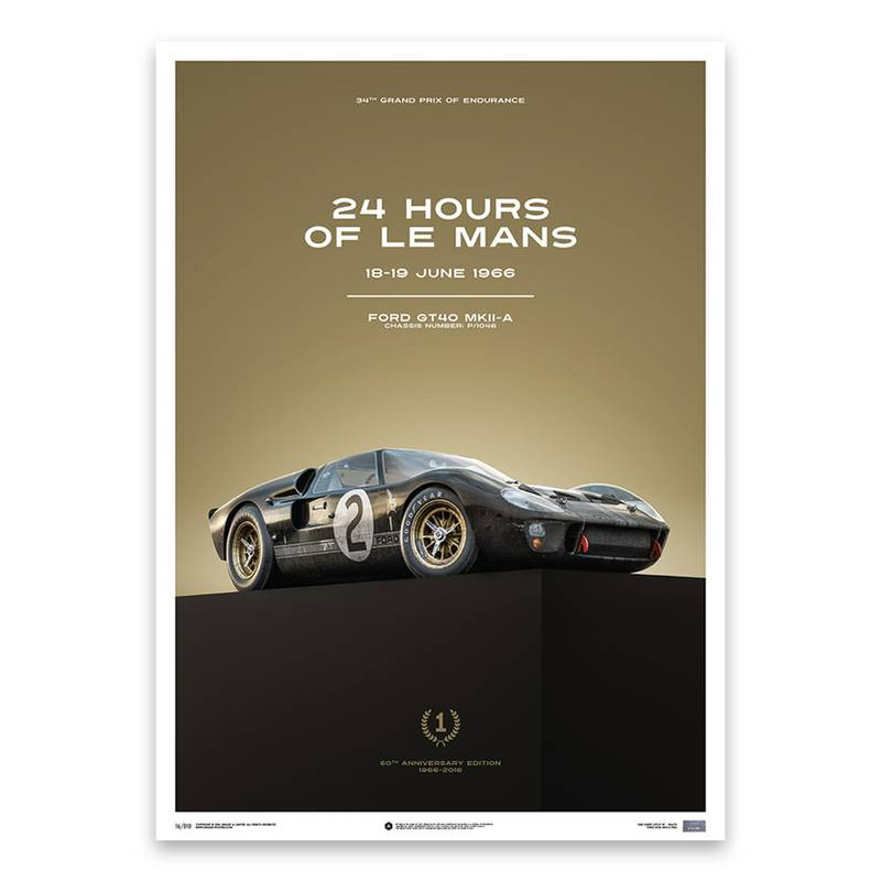 Product image for Chris Amon - Ford GT40 – 1966 Le Mans | Automobilist | Limited Edition poster
