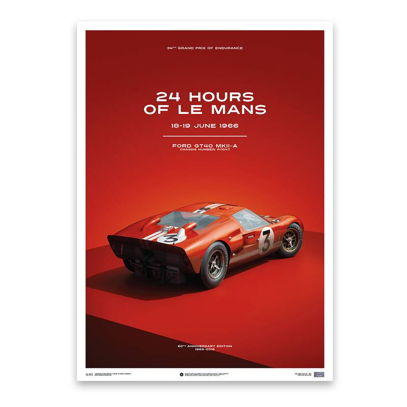 Product image for Dan Gurney – Ford GT40 – Le Mans 1966   Automobilist   Limited Edition poster