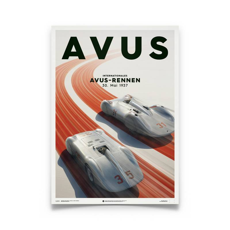 Product image for Silver Avus – Mercedes Benz & Auto Union – 1937   Automobilist   Limited Edition poster