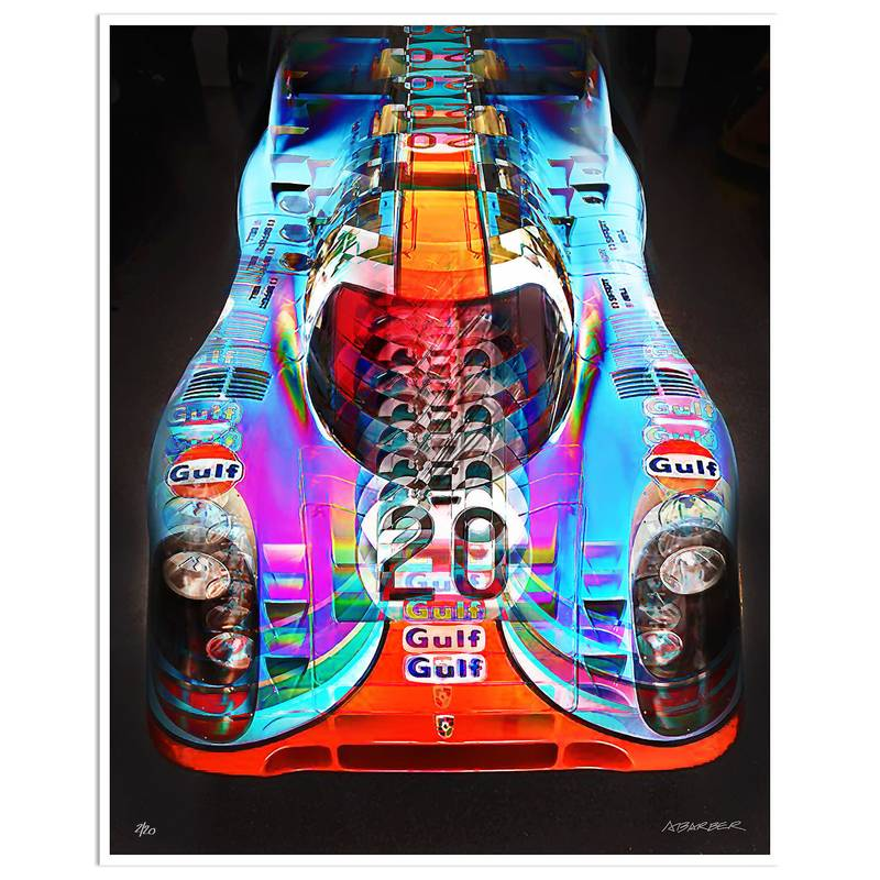 Product image for Gulf Porsche 917K – Le Mans – 1970 | Andrew Barber | print