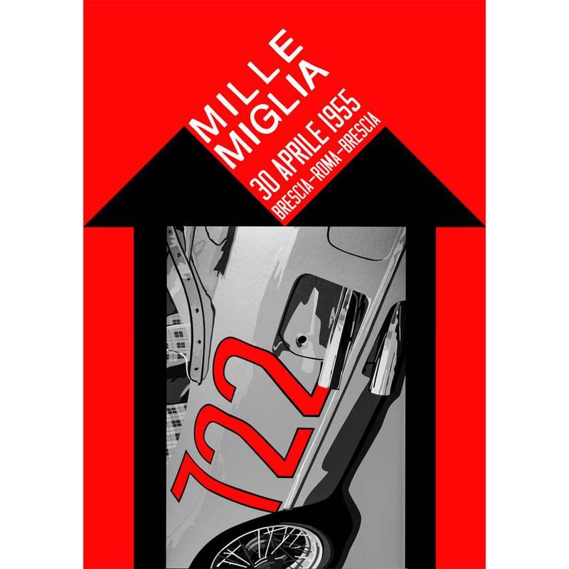 Product image for Mille Miglia 722   Stirling Moss - Mercedes-Benz 300 SLR - 1955   Joel Clark   Landscape Poster