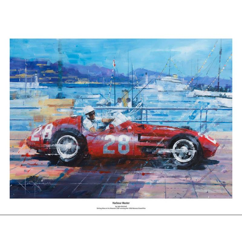 Product image for Harbour Master | Stirling Moss - Maserati 250F - 1956 | John Ketchell | Limited Edition print