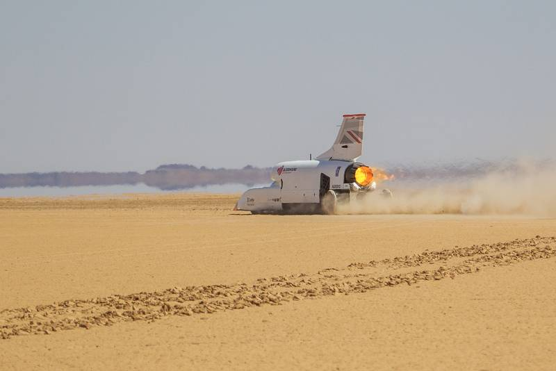 Bloodhound land speed record car during its 501mph run on November 6 2019