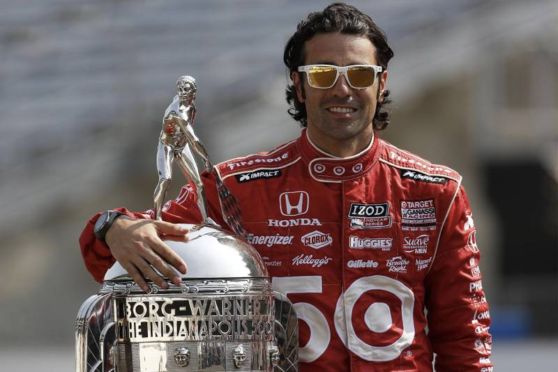 Dario Franchitti with the Borg Warner Trophy after winning the 2012 Indy 500