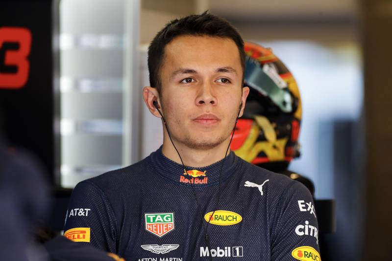 Alex Albon in the Red Bull garage during the 2019 United States Grand Prix