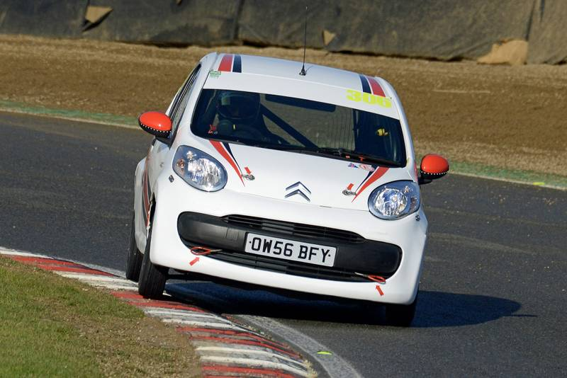 James Baldwin corners in a Citroen C1 at Brands Hatch in November 2019