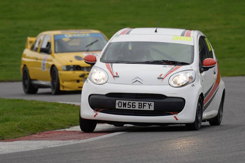 James Baldwin racing at Brands Hatch in a Citroen C1 in November 2019