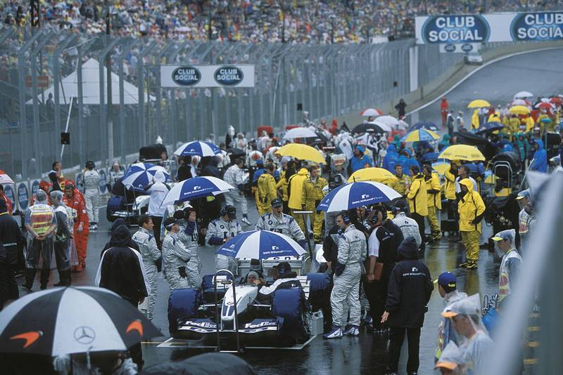 Umbrellas on the grid ahead of the start of the 2003 Brazilian Grand Prix